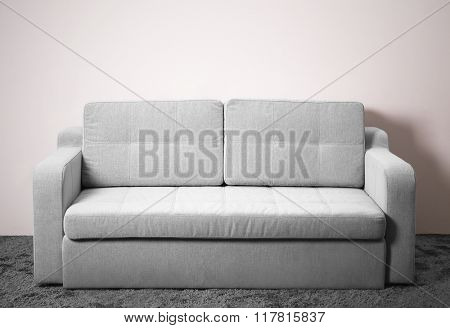 Grey comfortable sofa against white wall in the room