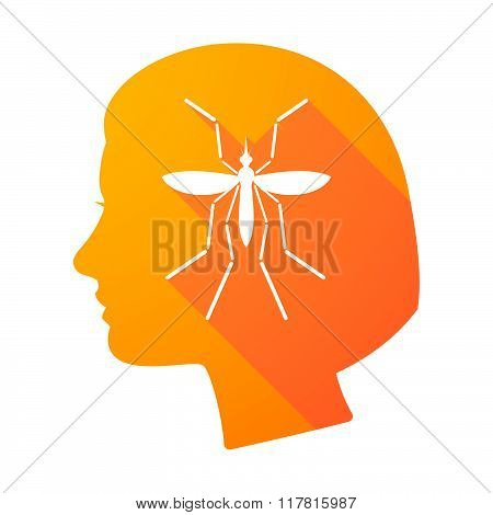 Zika Virus Bearer Mosquito  In A Female Head Icon
