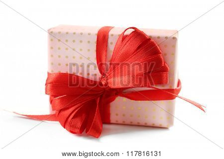 Gift box and decorative heart, isolated on white