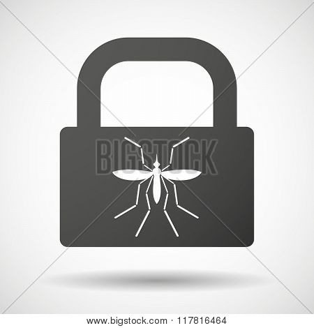 Zika Virus Bearer Mosquito  In A Lock Icon