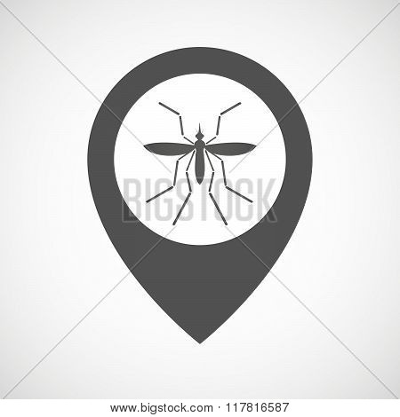 Zika Virus Bearer Mosquito  In A Map Mark