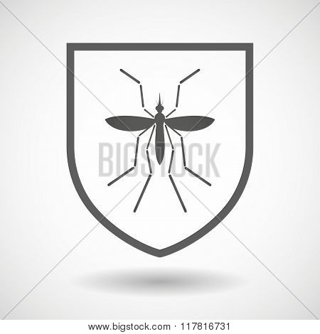 Zika Virus Bearer Mosquito  In A Line Art Shield Icon