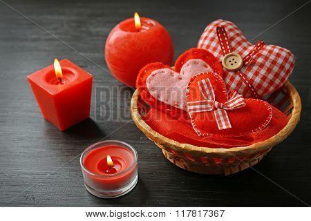 St Valentine's decor on wooden background, closeup