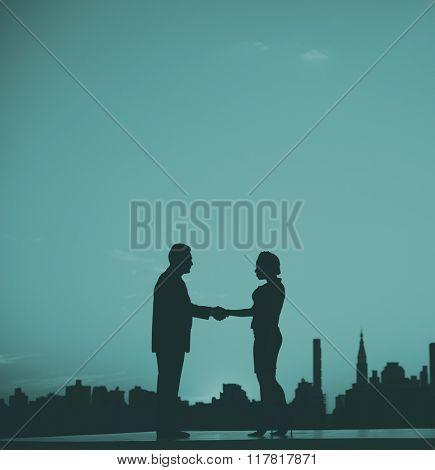 Business Partner Handshake Greeting Working Concept