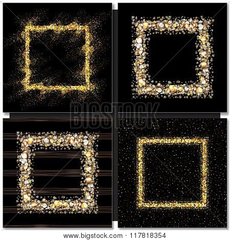 Set of Golden square frames on black background. Gold sparkles on black background. Gold glitter vector.