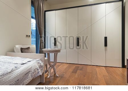 Bedroom Interior With Large Closet