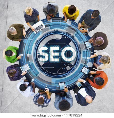 SEO Web Development Technology Online Concept