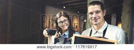 Cafe Barista Blackboard Waiter Waiteress Cheerful Concept