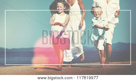Family Running Playful Vacation Beach Margin Concept