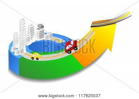 Vector 3D Conceptual City Development Illustration