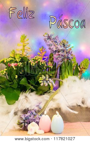 A composition of colorful flowers a bunny and burning candles entitled Feliz Pascoa (Happy Easter in Portuguese)