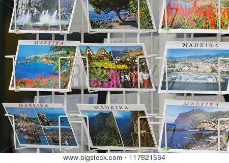 Madeira - June 25, : Colorful Madeira Postcards Offered For Sale At The Funchal Town On June 25, 201