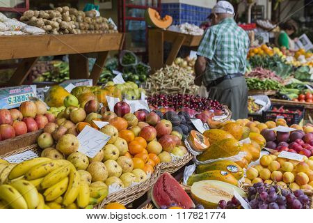 Funchal, Portugal - June 25: Fresh Exotic Fruits In Mercado Dos Lavradores.on June 25, 2015 In Madei