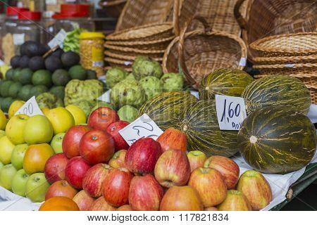 Fresh Exotic Fruits In Mercado Dos Lavradores.madeira Island, Portugal.