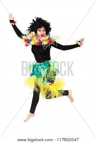 Funny Aborigine Woman In Native Costume Dancing Isolated
