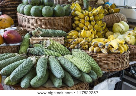Fresh Exotic Fruits In Mercado Dos Lavradores.madeira Island, Portugal.