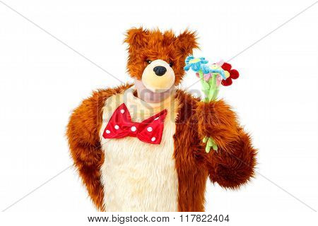 Freak Bear With Toy Flowers On White Background