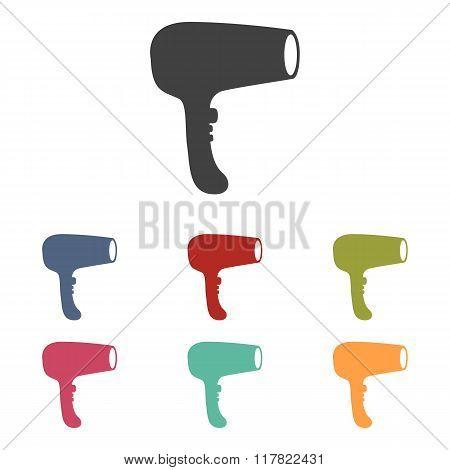 Hair Dryer icons set