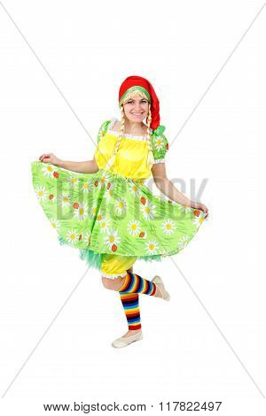 Blond Girl In Fairy Carnival Costume Isolated On White