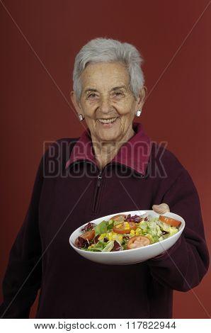 Senior Woman With a Salad