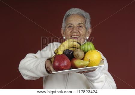 Senior Woma With Fruit