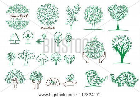 collection Of Green Tree .vector