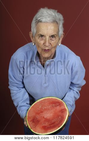 Senior Woman With Watermelon
