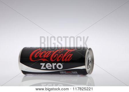 Kuala Lumpur Malaysia Jan 12th 2016,coca cola zero black can on the white background