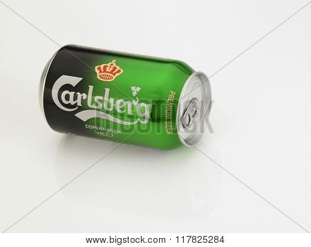 Kuala Lumpur Malaysia Jan 18th 2016,a can of carlsberg on the white background