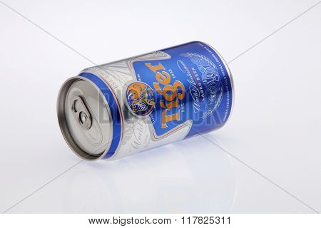 Kuala Lumpur Malaysia Jan 12th 2016,tiger beer aluminum can on the white background
