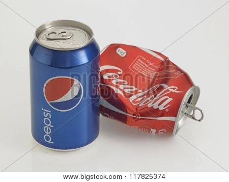Kuala Lumpur Malaysia Jan 18th 2016, Concept of competitiveness on Pepsi vs Coca-Cola