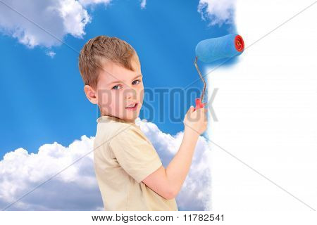 A Boy With A Roller Draws Sky With Clouds Collage