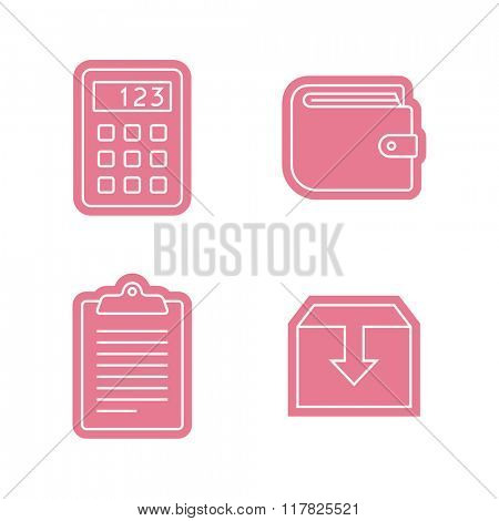 Universal business sticker icons set. Vector icons