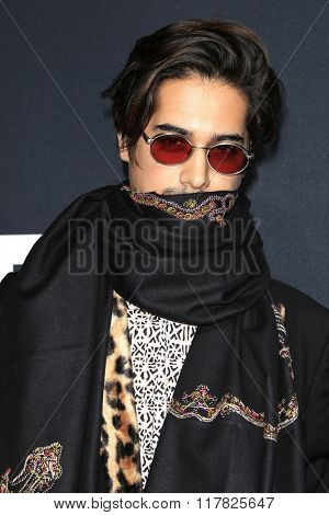 LOS ANGELES - FEB 10: Avan Jogia arriving at the Saint Laurent fashion show at the Hollywood Palladium on February 10, 2016 in Los Angeles, California