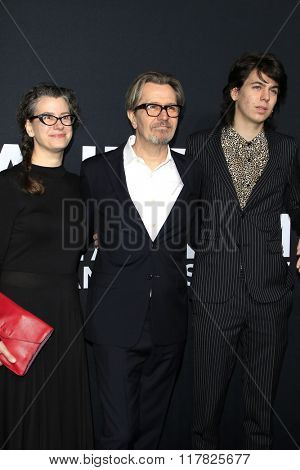 LOS ANGELES - FEB 10: Alexandra Edenborough, Gary Oldman, Charlie Oldman arriving at the Saint Laurent fashion show at the Hollywood Palladium on February 10, 2016 in Los Angeles, California
