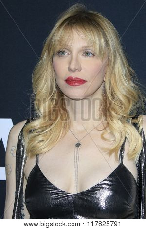 LOS ANGELES - FEB 10: Courtney Love arriving at the Saint Laurent fashion show at the Hollywood Palladium on February 10, 2016 in Los Angeles, California