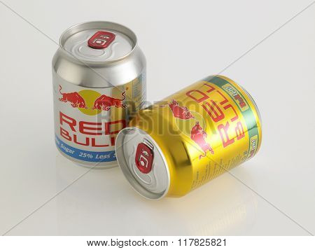 Kuala Lumpur Malaysia Jan 18th 2016,red bull gold and silver  aluminum can on the white background