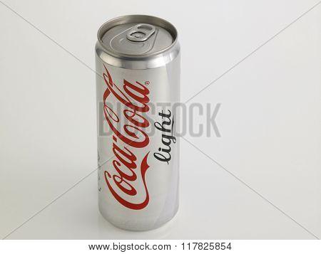 Kuala Lumpur Malaysia Jan 18th 2016, coca cola light aluminum can on the white background