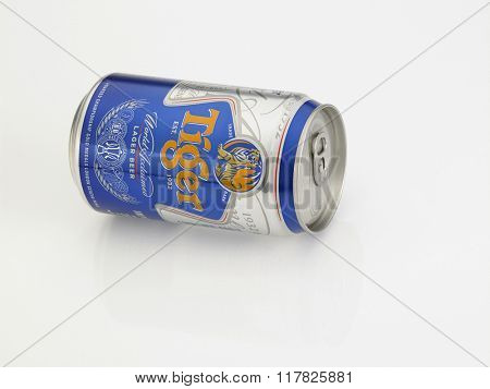 Kuala Lumpur Malaysia Jan 18th 2016,tiger beer aluminum can on the white background
