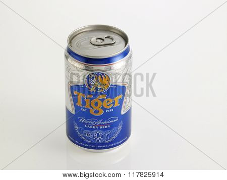 Kuala Lumpur Malaysia Jan 18th 2016, tiger beer aluminum can on the white background
