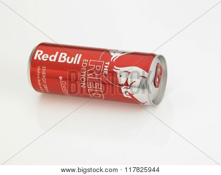 Kuala Lumpur Malaysia Jan 18th 2016,red bull cranberry aluminum can on the white background