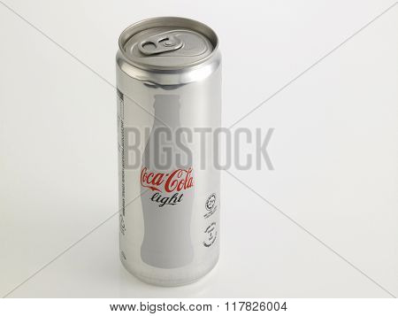 Kuala Lumpur Malaysia Jan 18th 2016, a slim can of coca cola light on the white background