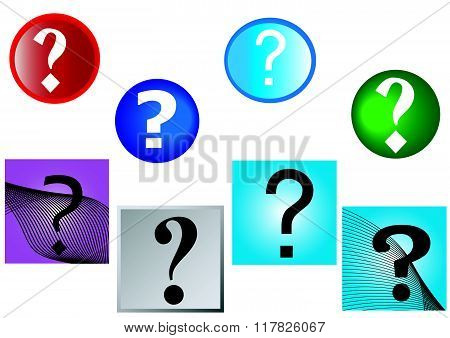 Question Marks  And Multi Colored Background Round And Square