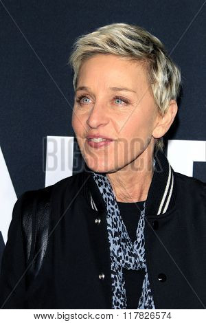 LOS ANGELES - FEB 10: Ellen DeGeneres arriving at the Saint Laurent fashion show at the Hollywood Palladium on February 10, 2016 in Los Angeles, California