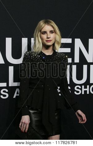 LOS ANGELES - FEB 10: Emma Roberts arriving at the Saint Laurent fashion show at the Hollywood Palladium on February 10, 2016 in Los Angeles, California