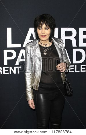 LOS ANGELES - FEB 10: Joan Jett arriving at the Saint Laurent fashion show at the Hollywood Palladium on February 10, 2016 in Los Angeles, California