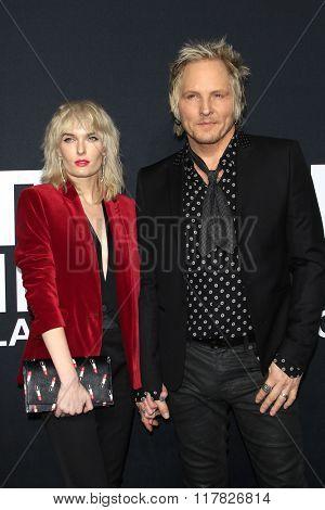 LOS ANGELES - FEB 10: Ace Harper, Matt Sorum arriving at the Saint Laurent fashion show at the Hollywood Palladium on February 10, 2016 in Los Angeles, California