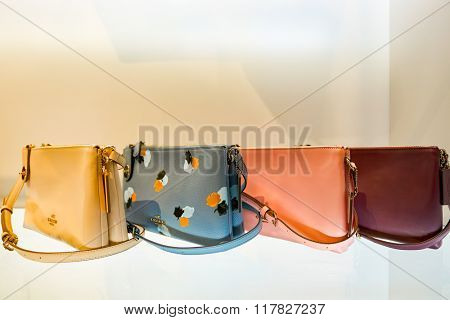 HONG KONG - JANUARY 27, 2016: close up shot of items at Coach store in Hong Kong. Coach, Inc. is an American luxury fashion company based in New York City