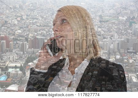 Business Woman With Smartphone Calling Businesswoman Telephone Double Exposure
