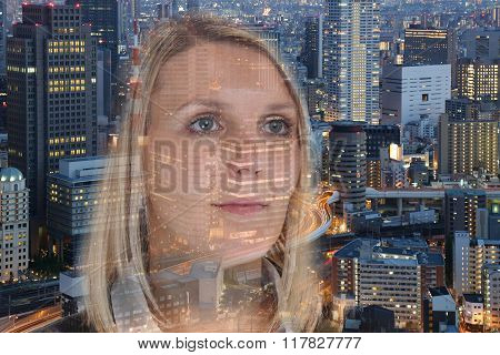Business Woman Businesswoman Portrait Confidence Hope City Double Exposure